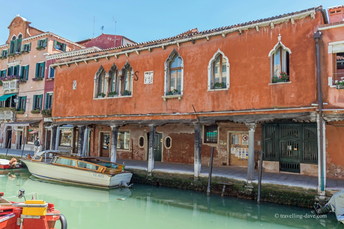 One of Murano's canal-side buildings
