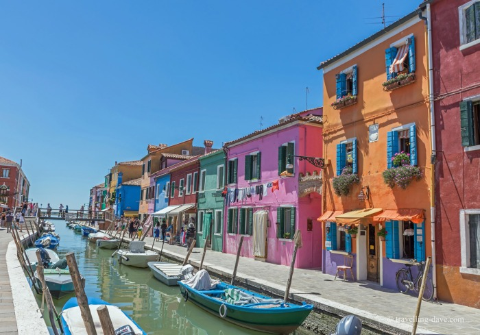 View of Burano's colorful houses
