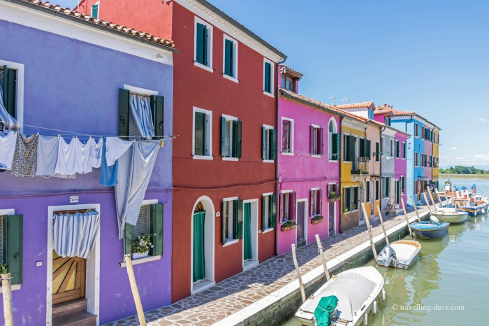 View of some of the houses by the canal in Burano