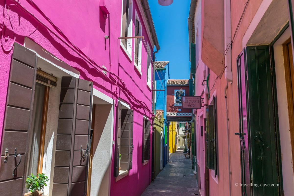 View of one of Burano's alleys