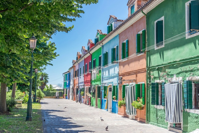View of a row of colorful houses in Burano
