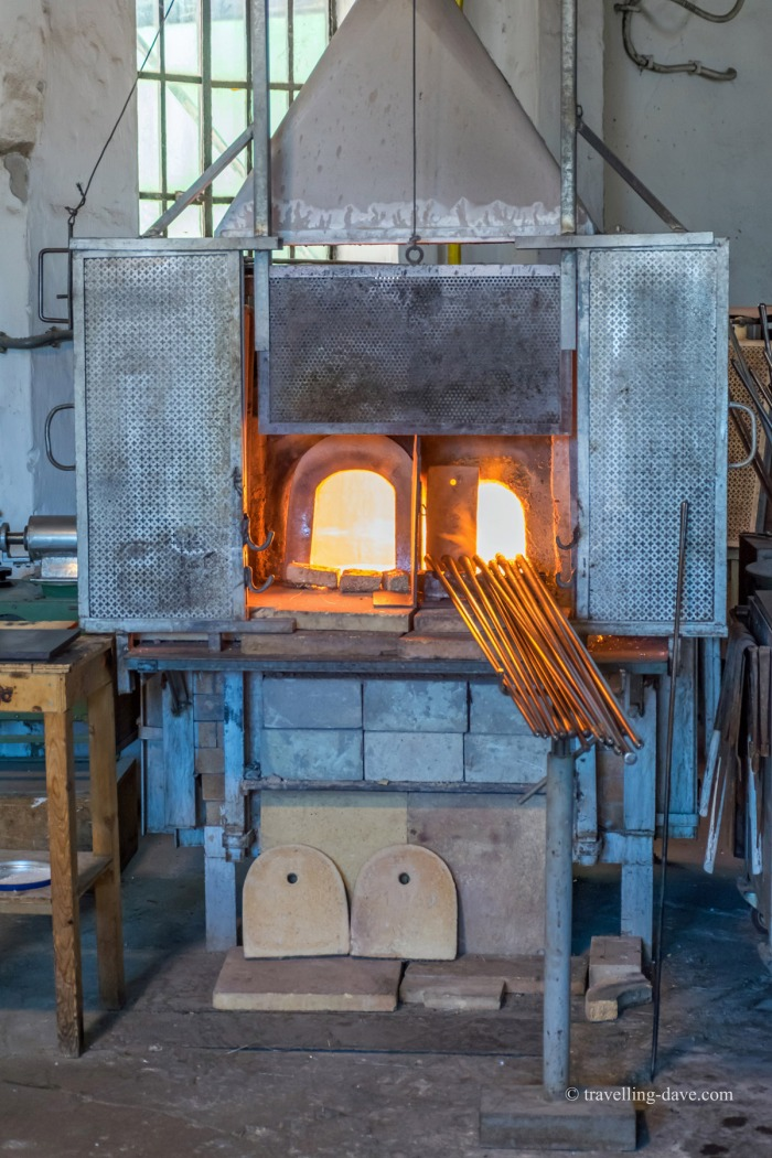 View of a burning furnace in Murano