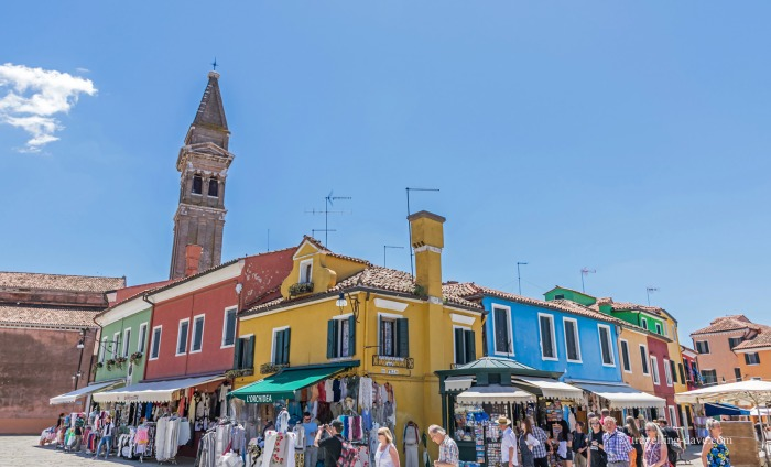 View of houses and church in Burano