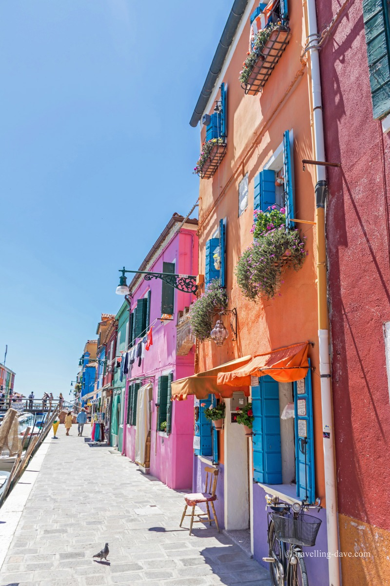Close up of some of Burano's houses