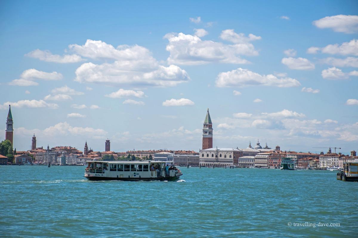 View of a vaporetto in Venice