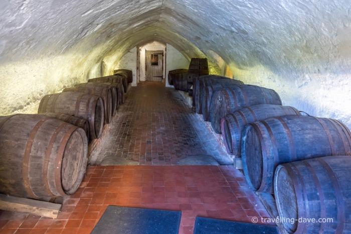 Barrels at Leeds Castle's cellar