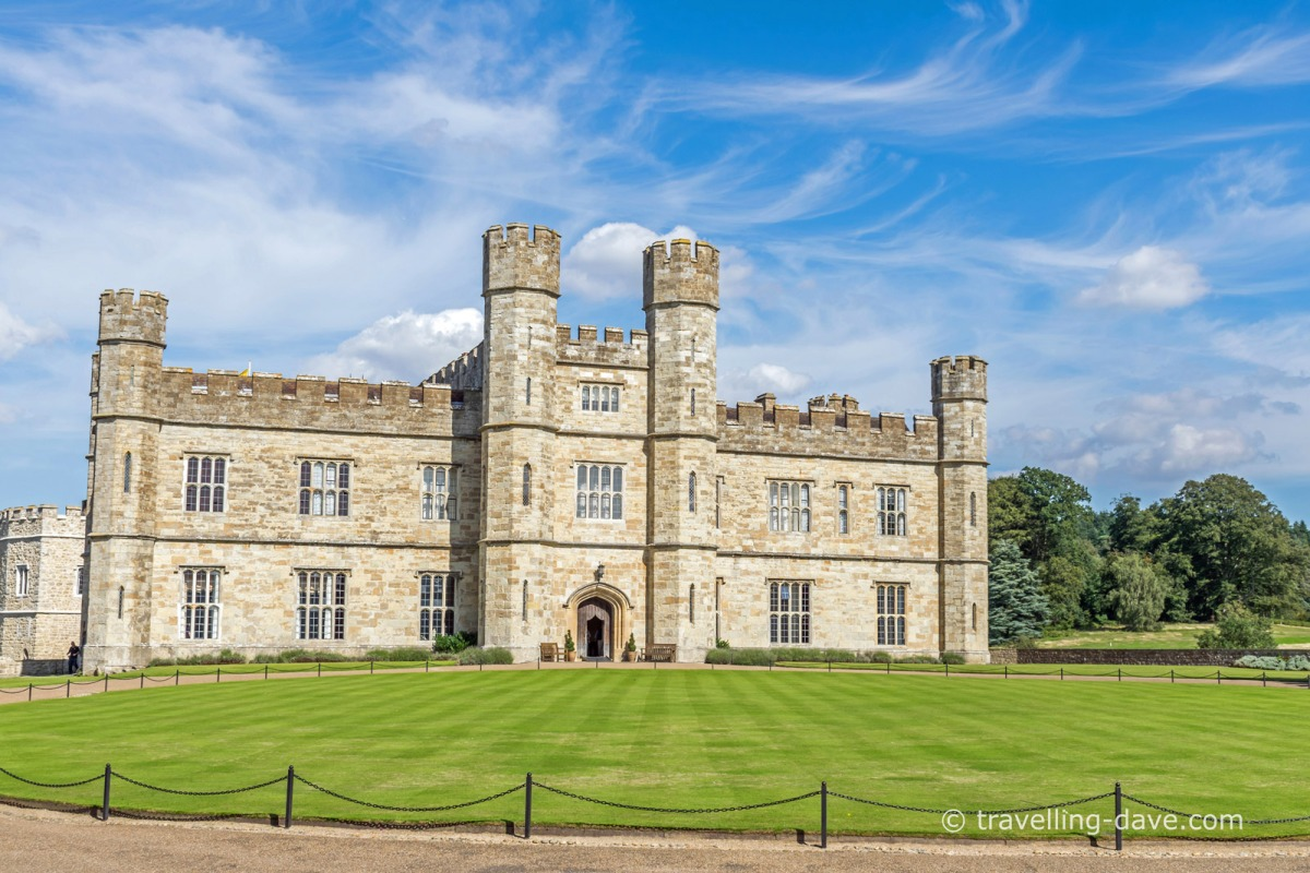 View of the front entrance to Leeds Castle