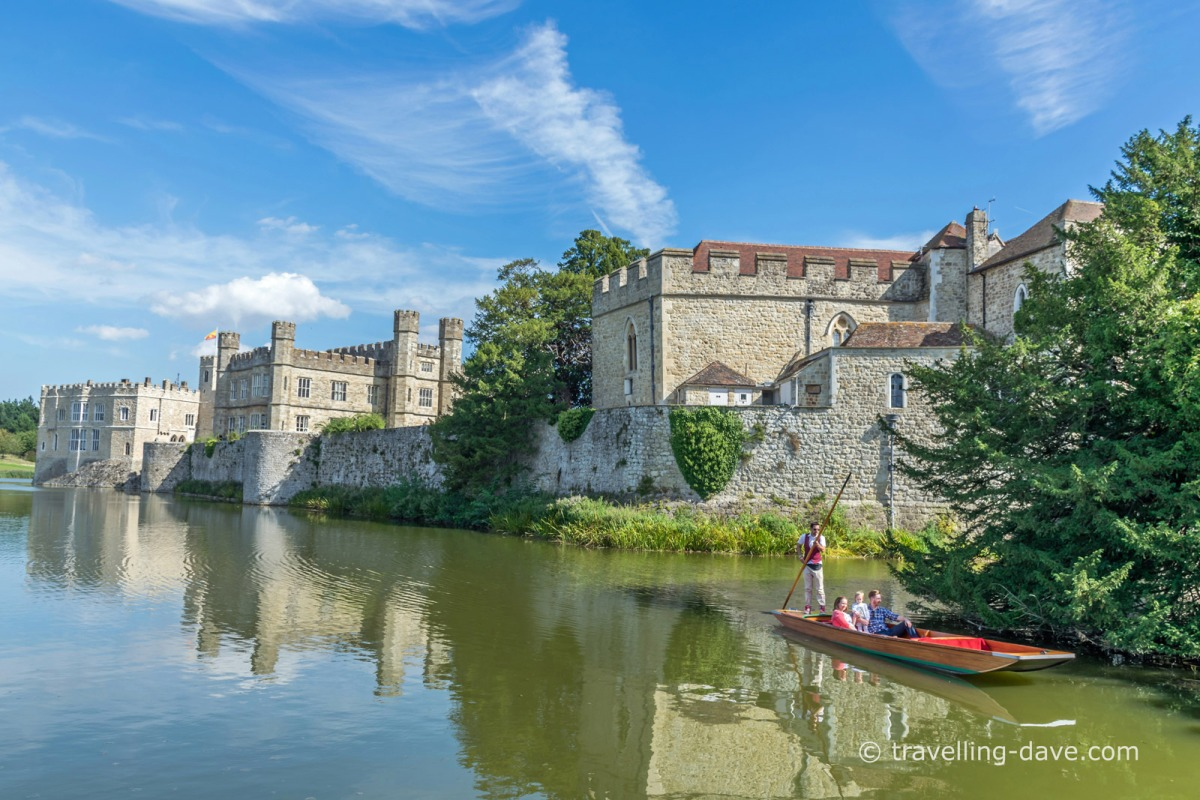 People on a boat at Leeds Castle