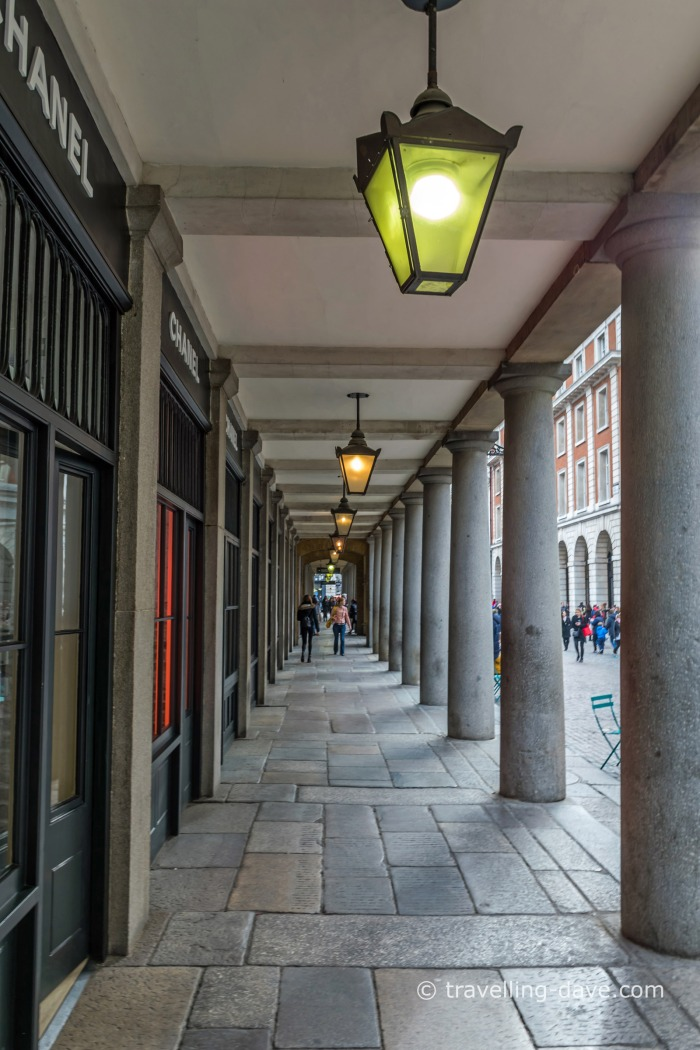 View of the colonnade at Covent Garden