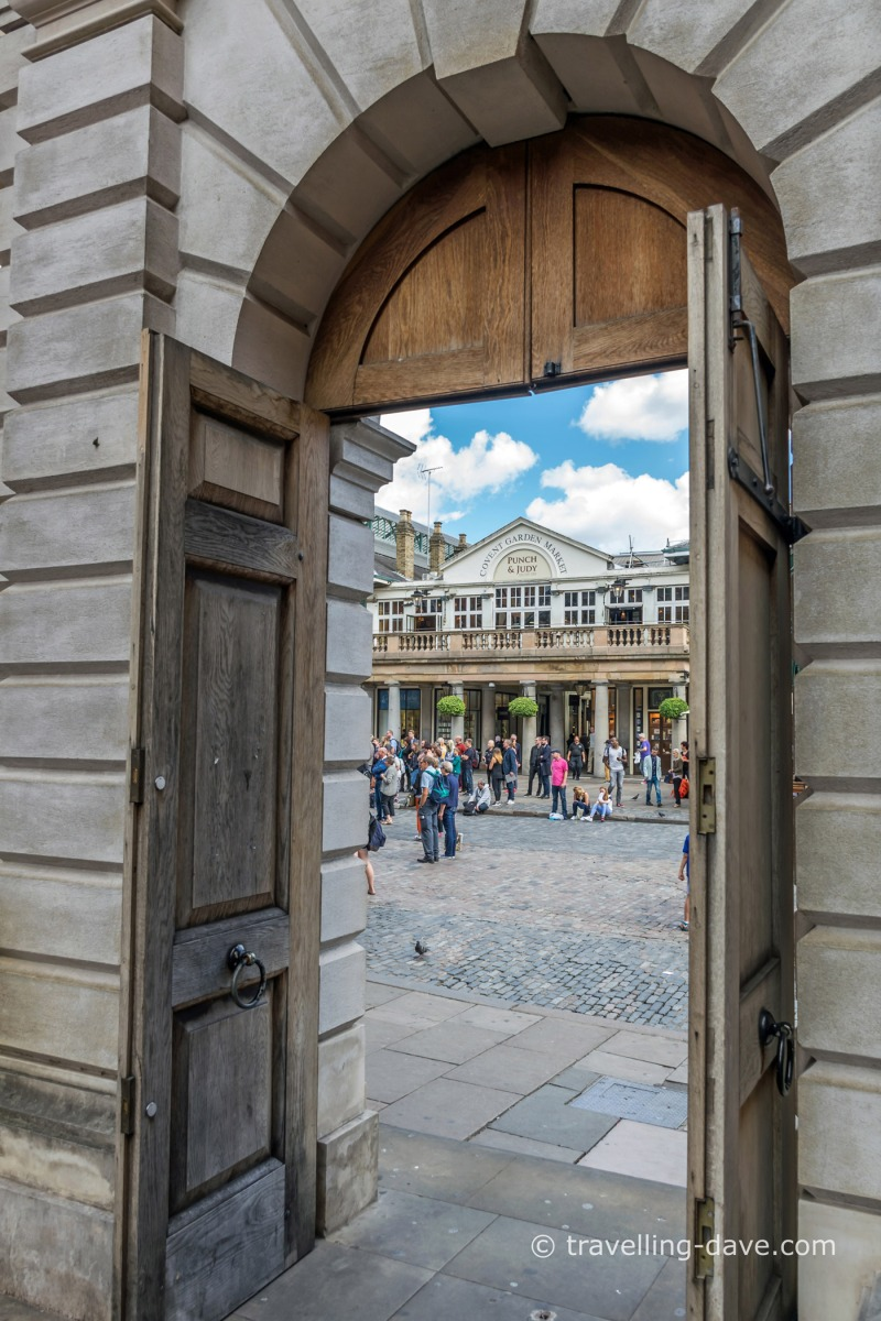 The view from an open door in Covent Garden