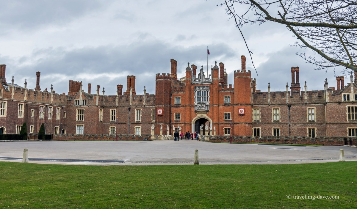 View of the main entrance to Hampton Court Palace