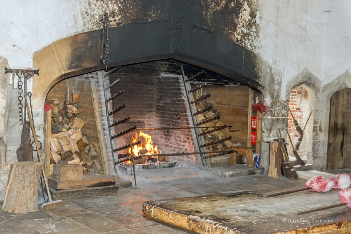 View of the fire place at Hampton Court kitchens