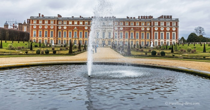 View of the fountain at Hampton Court