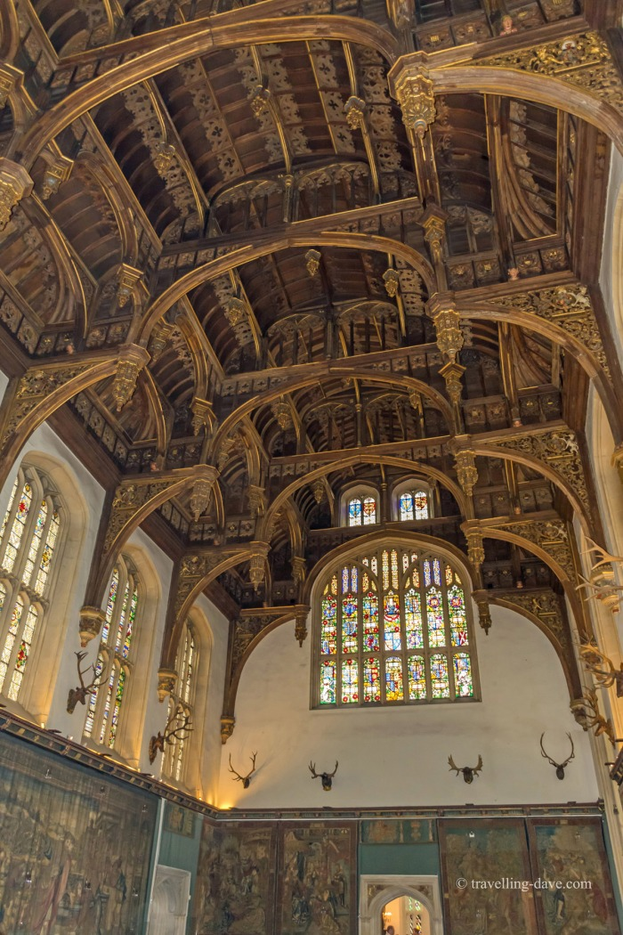Looking up at Hampton Court Great Hall