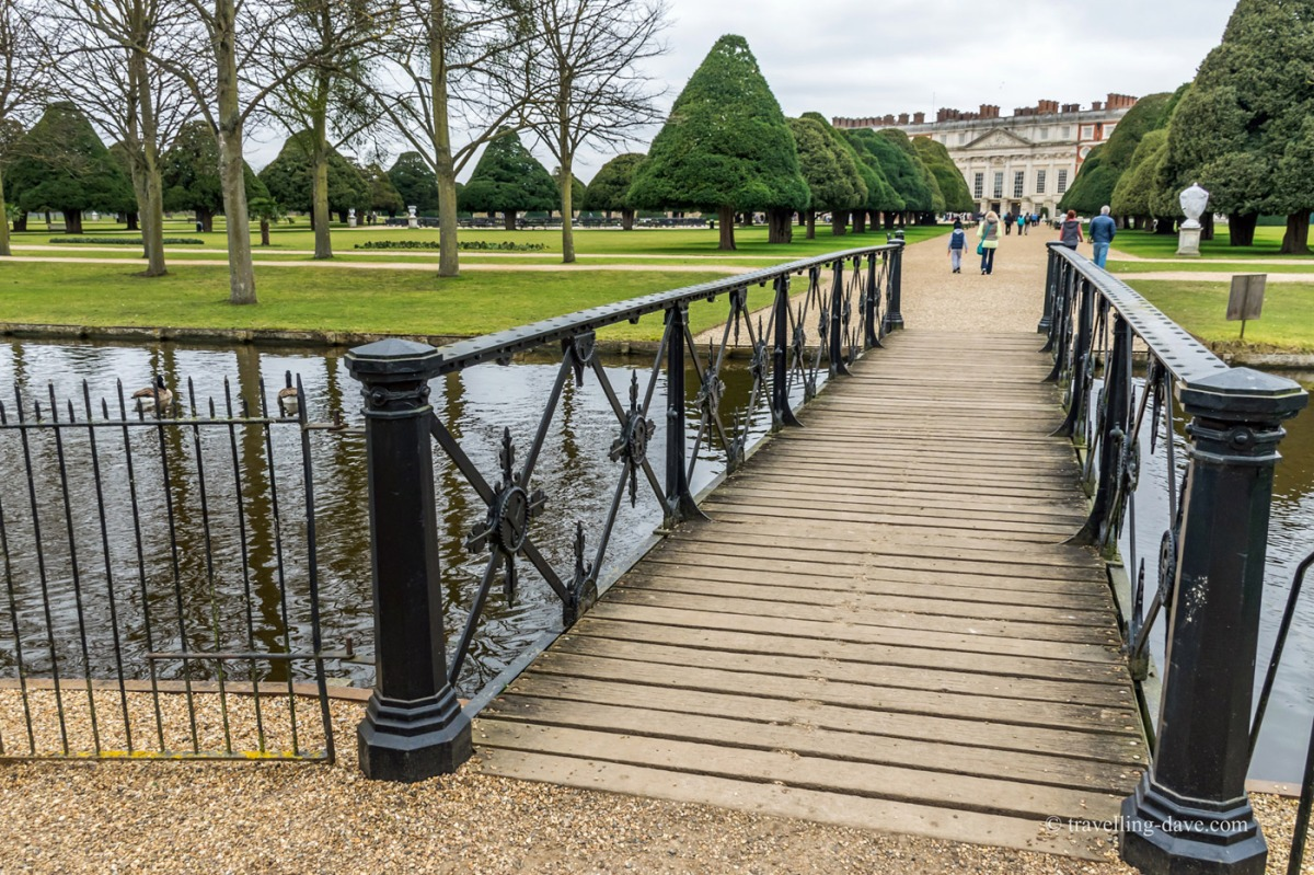 View of Home Park wooden bridge at Hampton Court