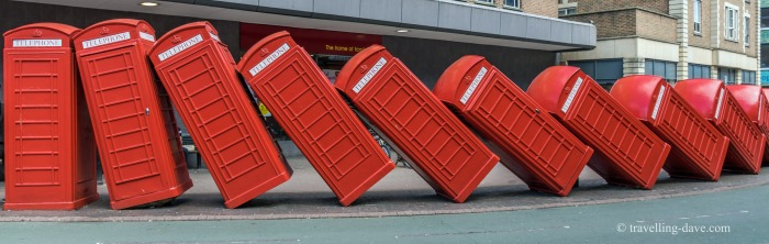 View of fallen red phone boxes