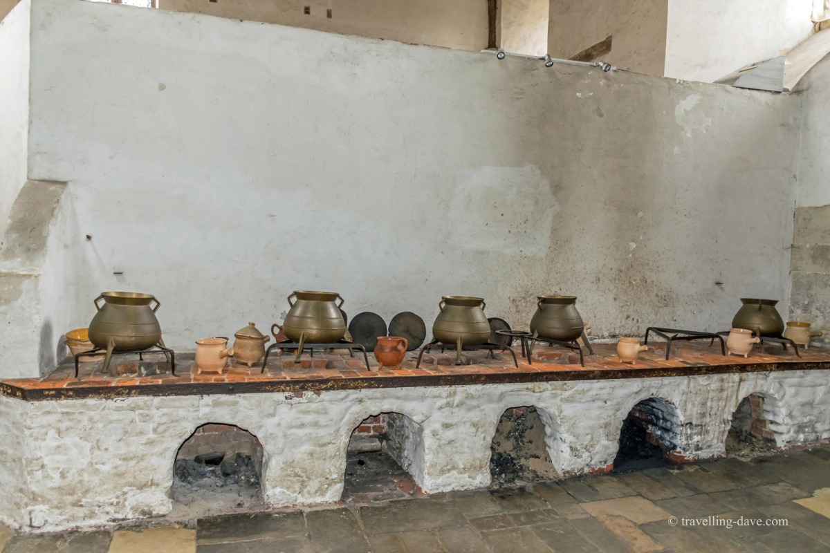 View of some of the pots at Hampton Court Kitchens
