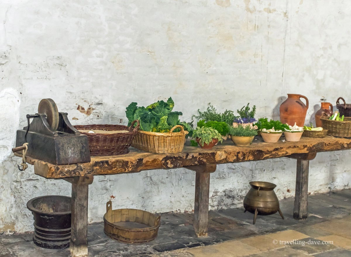 View of a shelf with goods on it at Hampton Court kitchens