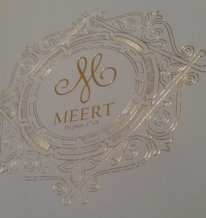 View of the logo of Meert Patisserie