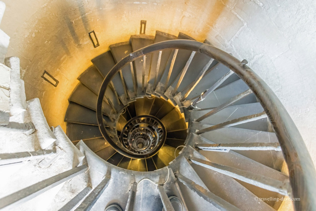 Looking down the spiral staircase on the Monument