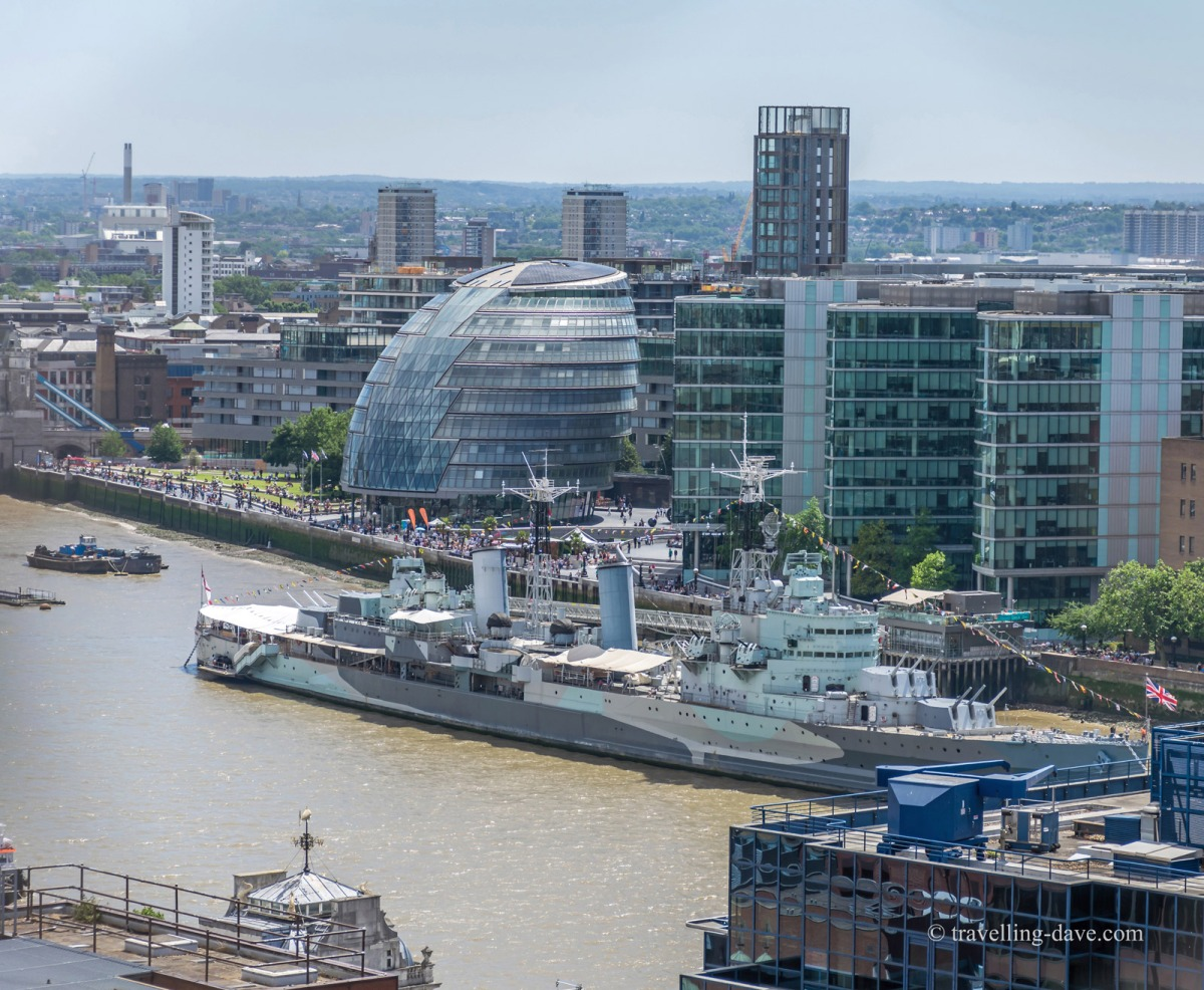 HMS Belfast and London City Hall seen from the Monument