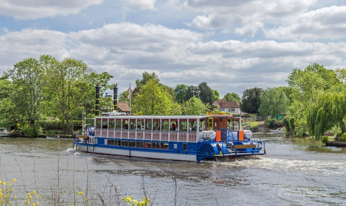 View of a cruise boat on the river