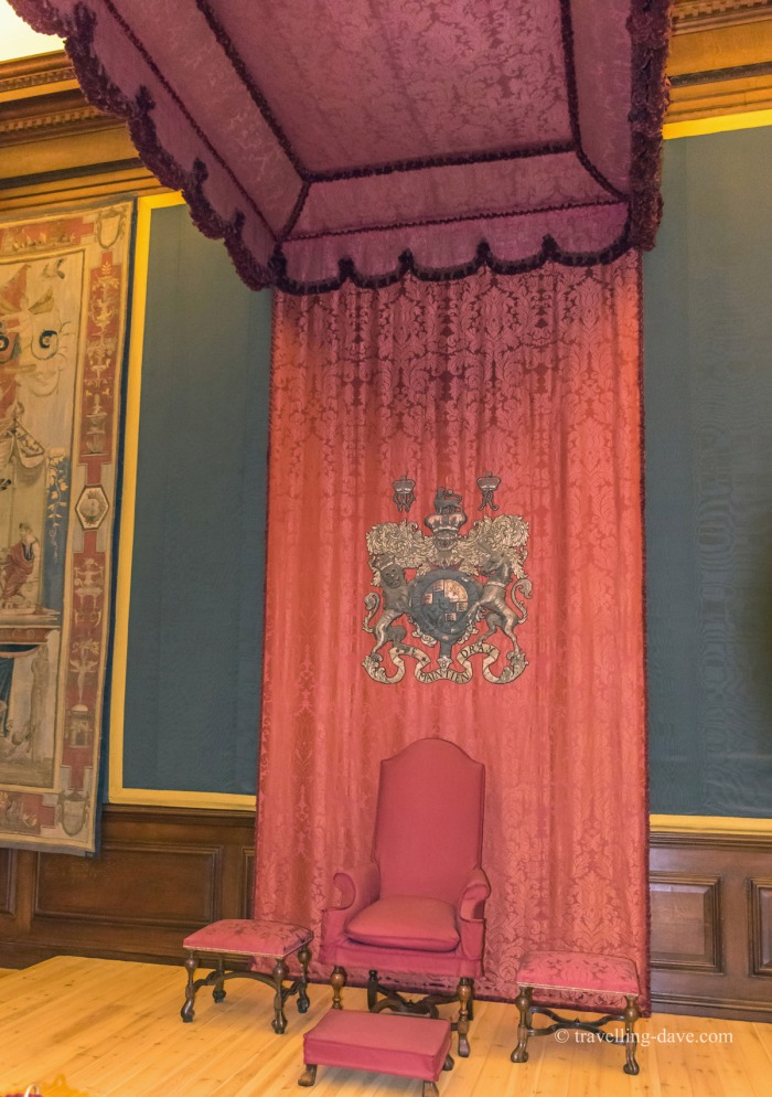 View of the throne at Hampton Court's Presence Chamber