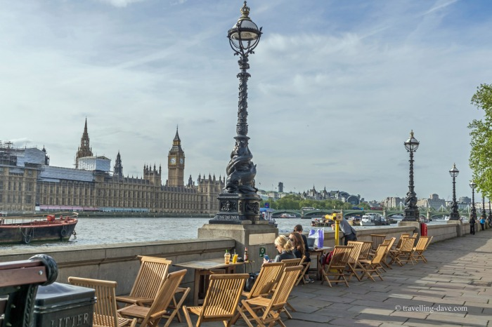 View of the river Thames and the Houses of Parliament in London