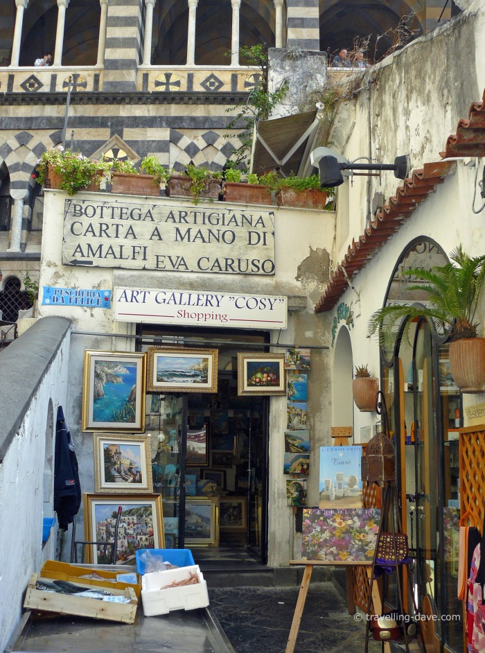 View of one of Amalfi's art shops