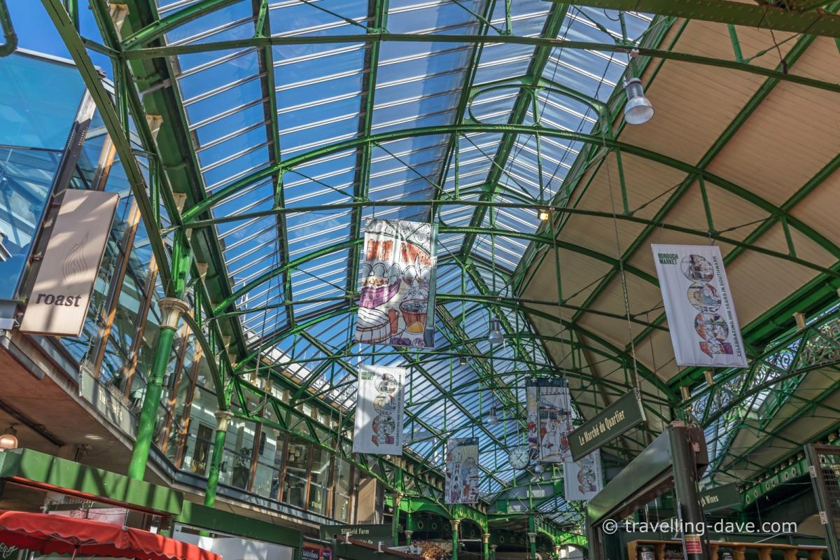 Looking up at Borough Market