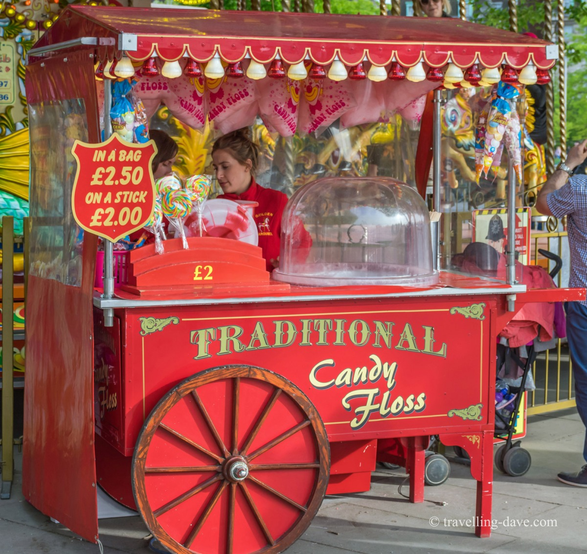View of a red candy floss cart