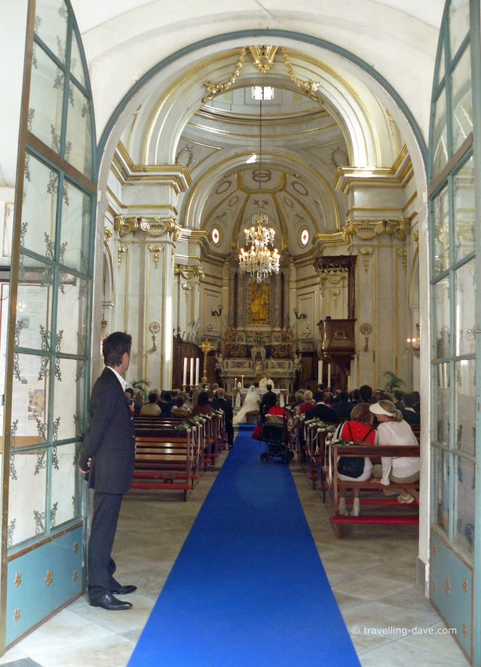 Open doors of Positano cathedral
