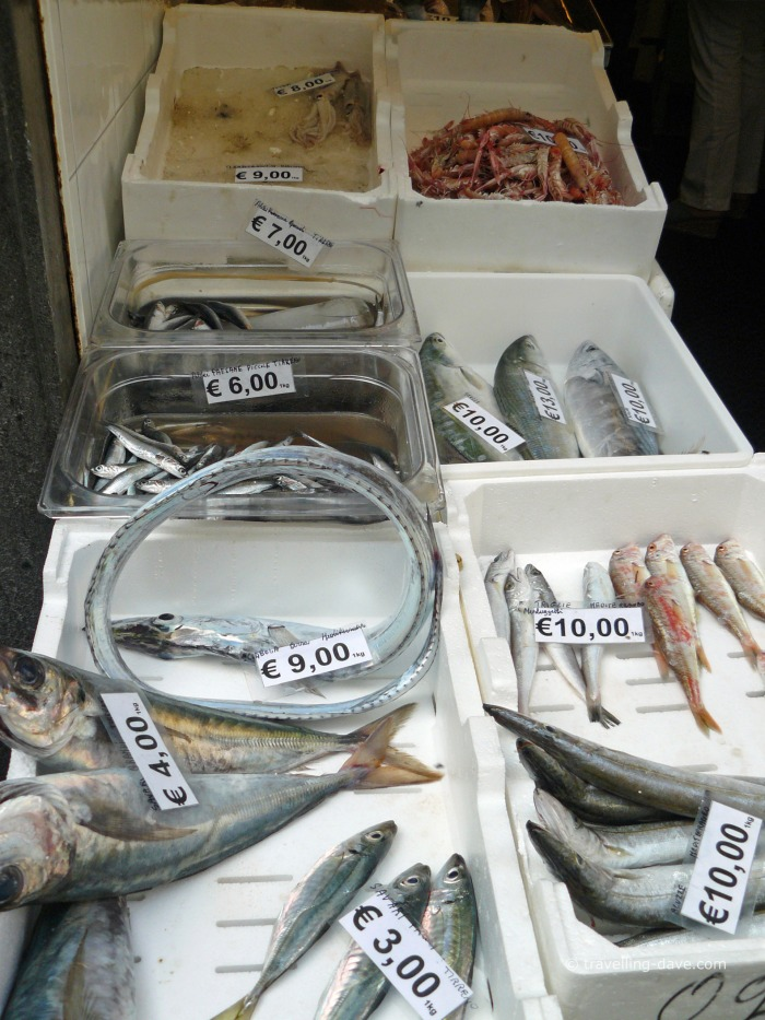 Fish on display outside a shop in Amalfi