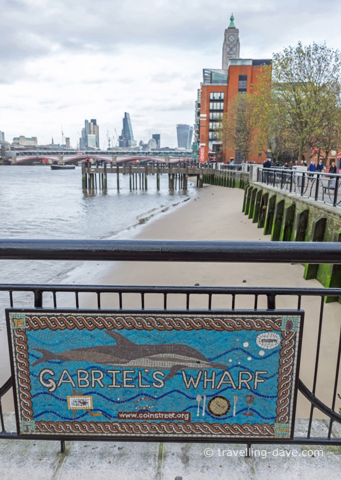 View of the sign for Gabriel's Wharf