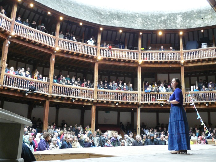 A performer on stage at the Globe Theatre