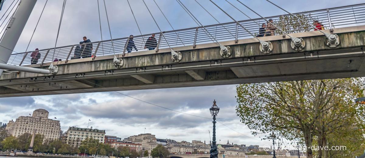 People crossing the Golden Jubilee footbridge