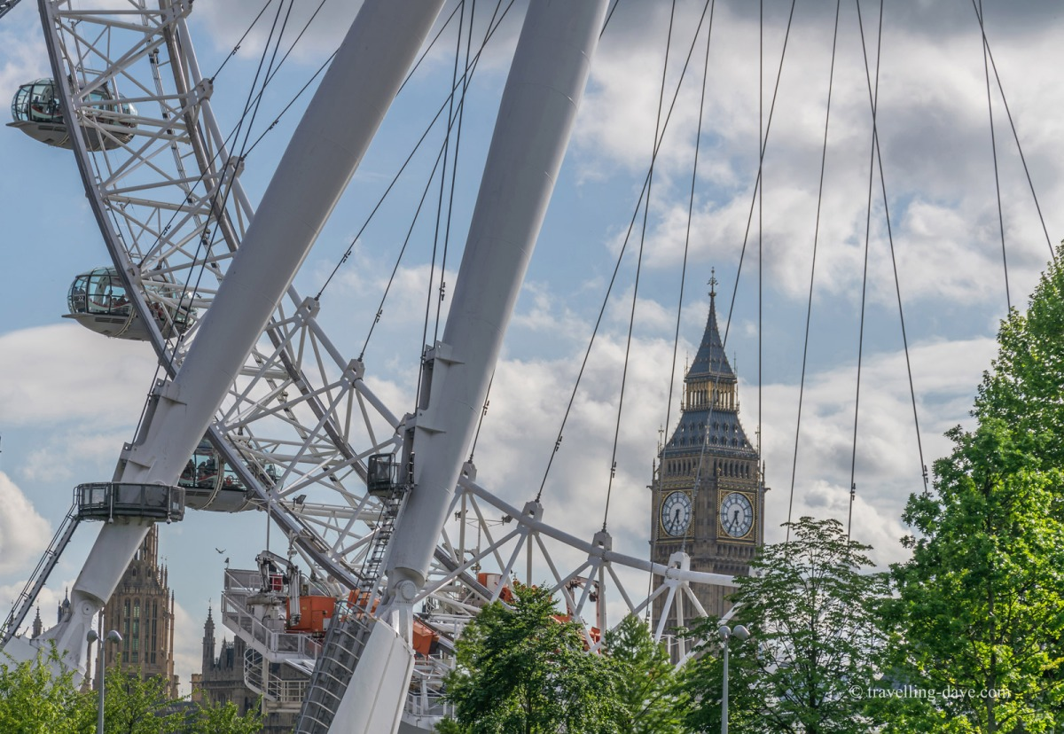 View of the Elizabeth Tower through the London Eye