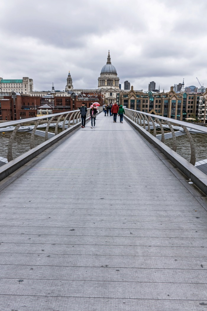 Looking down London's Millennium Bridge