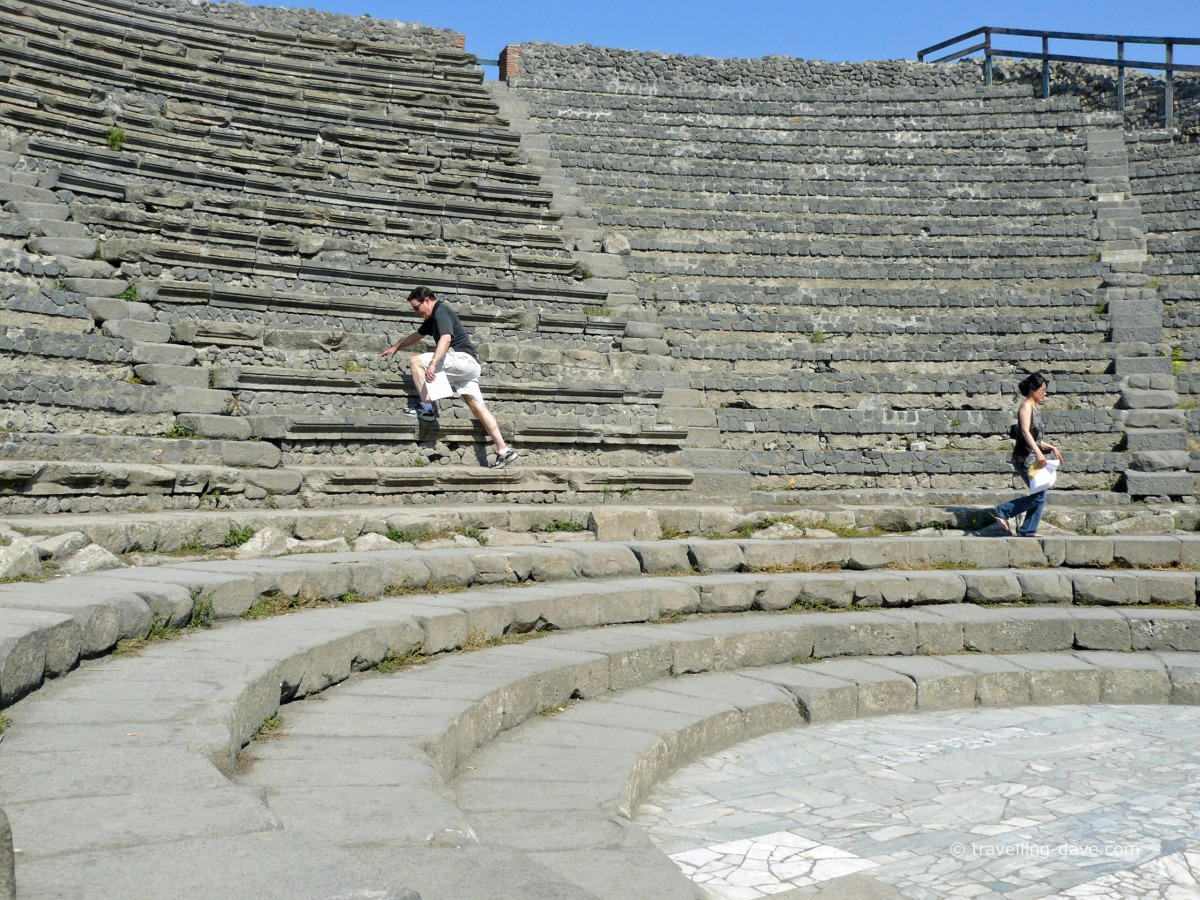 People at the amphitheater in Pompeii