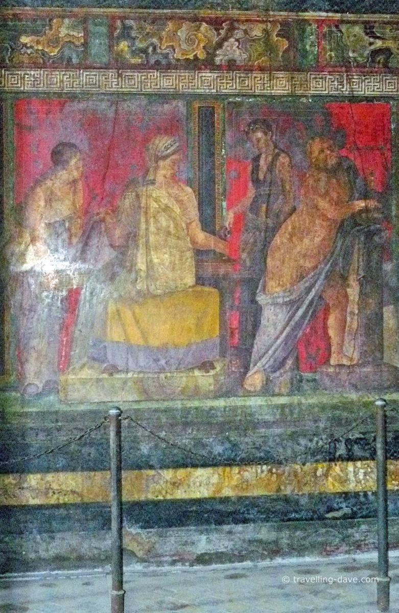 View of one of the frescos at Pompeii's Villa of Mysteries