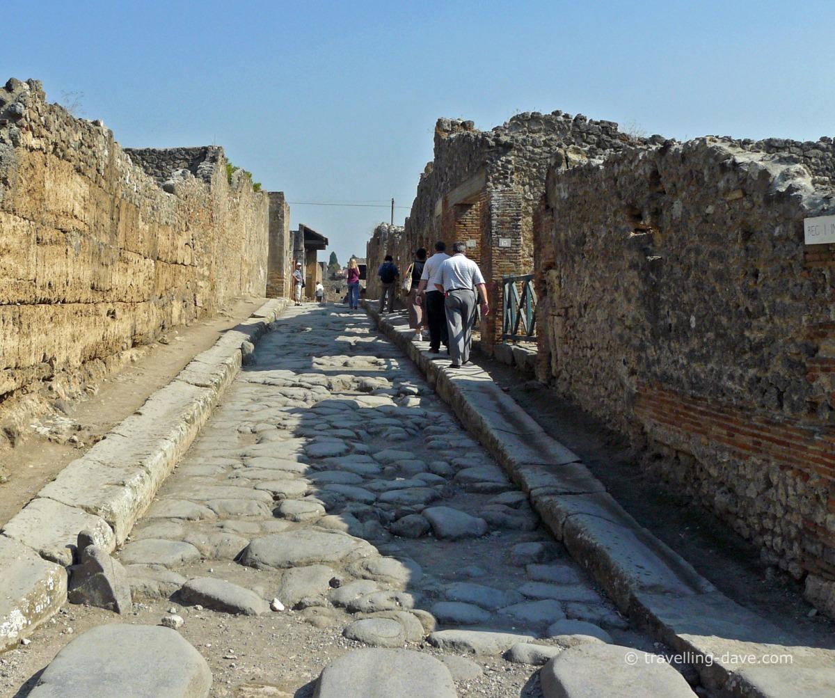 People walking in Pompeii