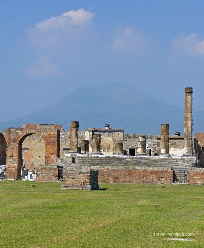 View of Pompeii with Mount Vesuvius in the background