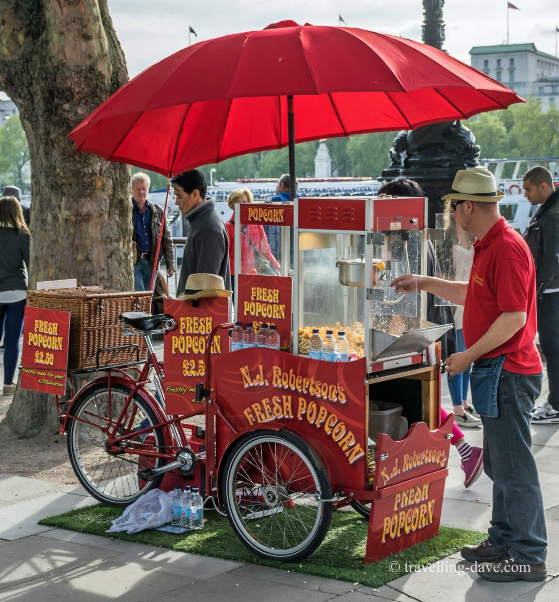 View of a red popcorn cart