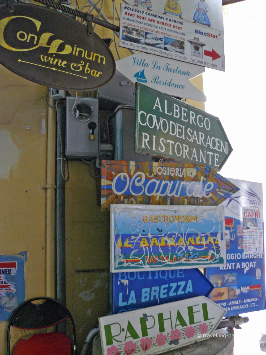 View of Positano's street signs