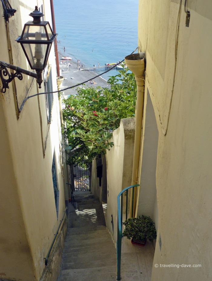 View of a lamppost on a street in Positano