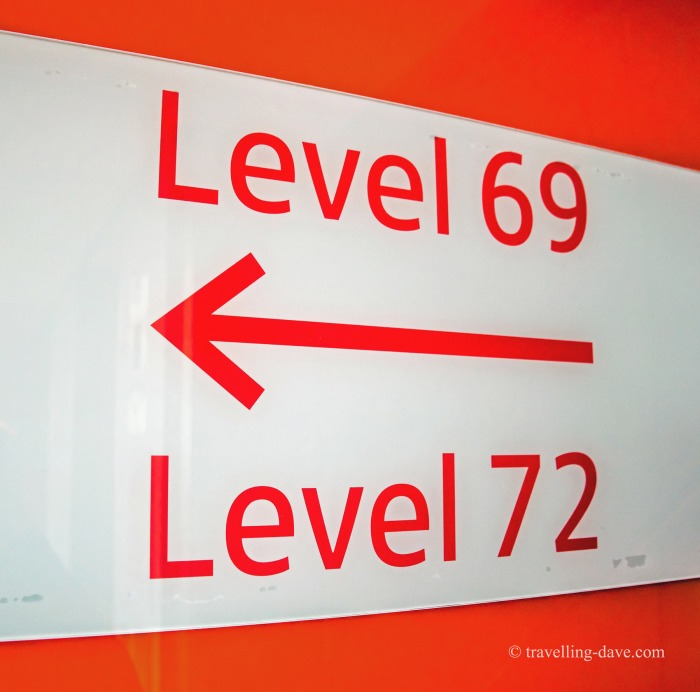 Direction sign to levels 69 and 72 on the Shard
