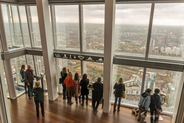 View of people looking at the view from the Shard