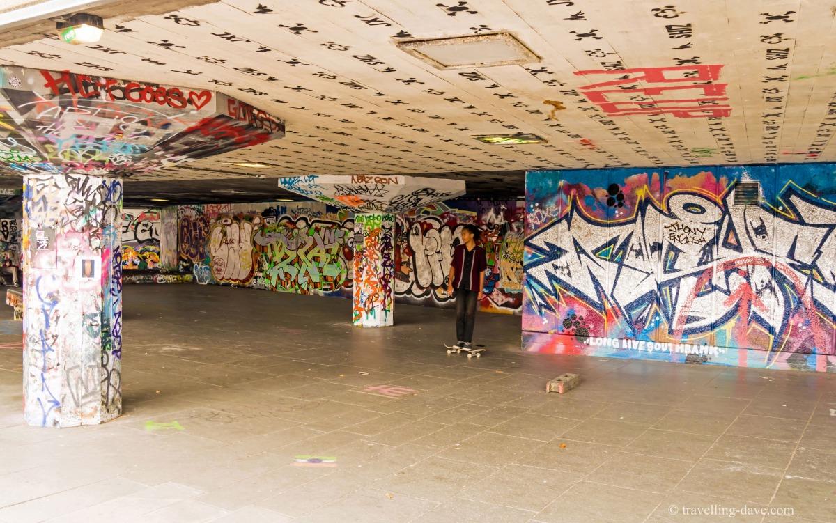 View of London's Southbank Skatepark