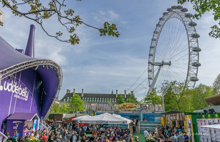 View of the Udderbelly Festival space on London's Southbank