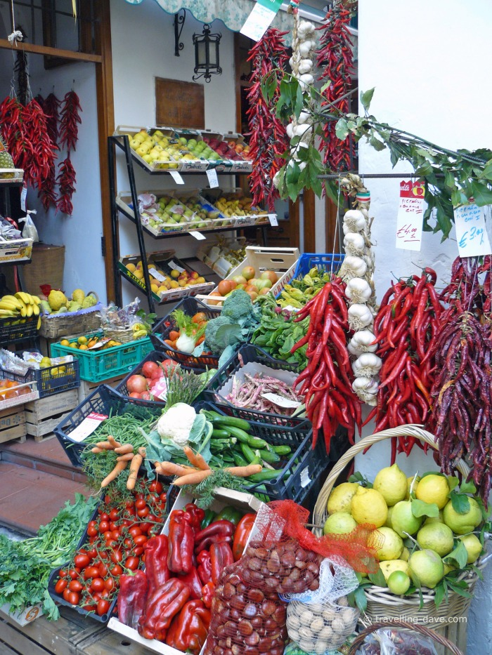 Fresh fruit and vegetables in a shop in Amalfi